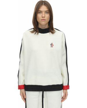 Prążkowana biała bluza z haftem Moncler Grenoble