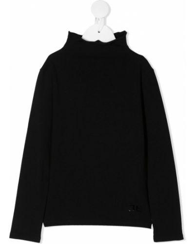 Хлопковый с рукавами черный свитер с воротником Ermanno Scervino Junior