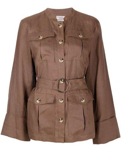 Коричневая куртка с поясом на пуговицах Baum Und Pferdgarten