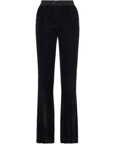 Ażurowe czarne spodnie z jedwabiu Akris