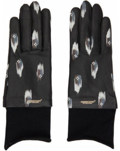 Czarne rękawiczki skorzane z haftem Undercover