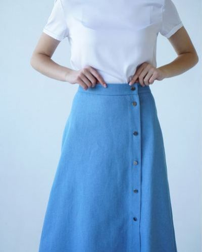 Повседневная фиолетовая джинсовая юбка с разрезом Vovk