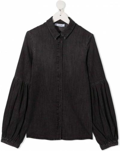 Хлопковая серая с рукавами джинсовая рубашка Dondup Kids