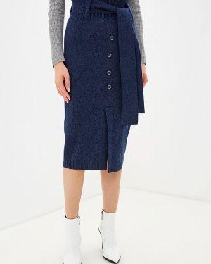 Облегающее платье осеннее синее Brusnika