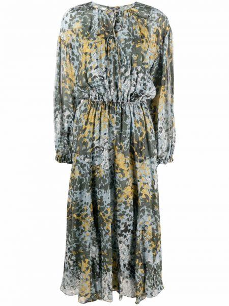 Платье макси с длинными рукавами - синее Luisa Cerano
