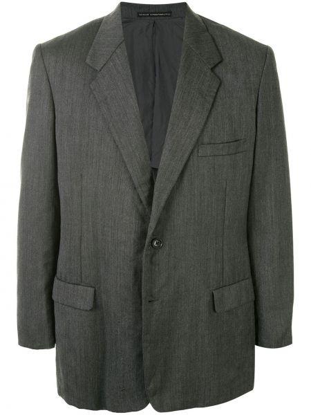 Шерстяной прямой пиджак на пуговицах с карманами Yohji Yamamoto Pre-owned