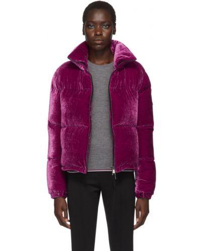 Czarna długa kurtka pikowana z nylonu Moncler