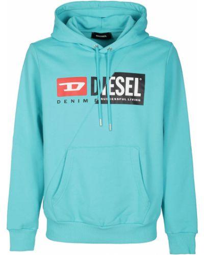 Niebieska bluza długa z długimi rękawami z printem Diesel