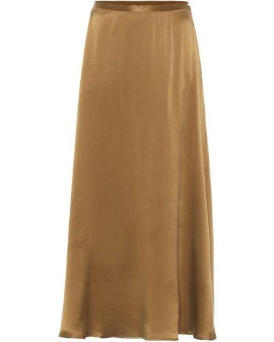 Сатиновая юбка миди золотая Asceno