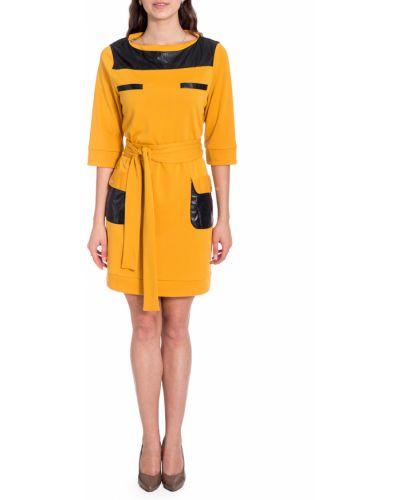 Платье с поясом кожаное желтый Lacywear