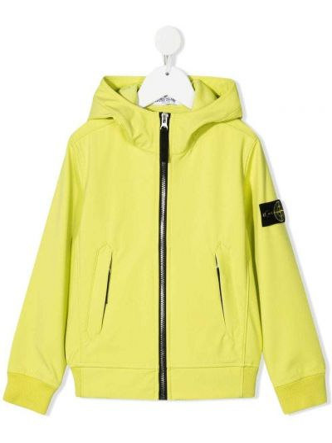 Желтая куртка с капюшоном на молнии Stone Island Junior