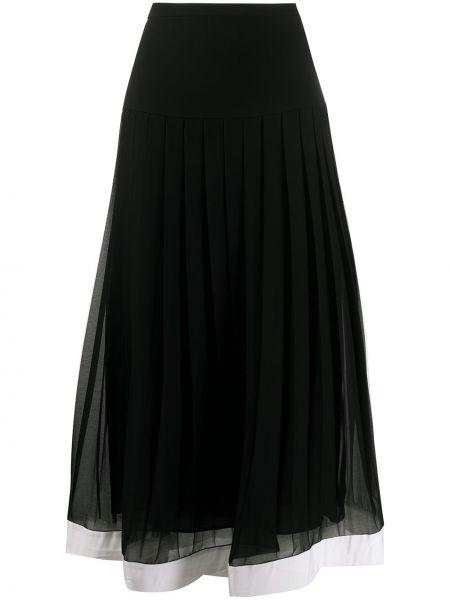Pofałdowany czarny z wysokim stanem spódnica midi z wiskozy Givenchy