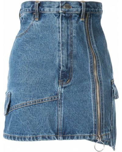 Плиссированная синяя юбка мини с поясом Pony Stone