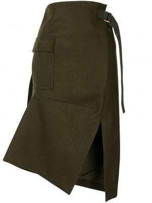 С завышенной талией юбка миди на молнии с разрезом с карманами Sacai