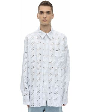 Biała klasyczna koszula bawełniana z haftem Botter