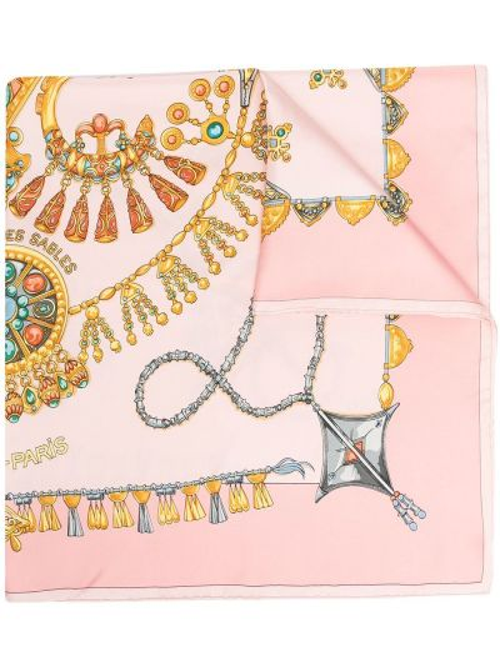 Розовый шелковый платок Hermes