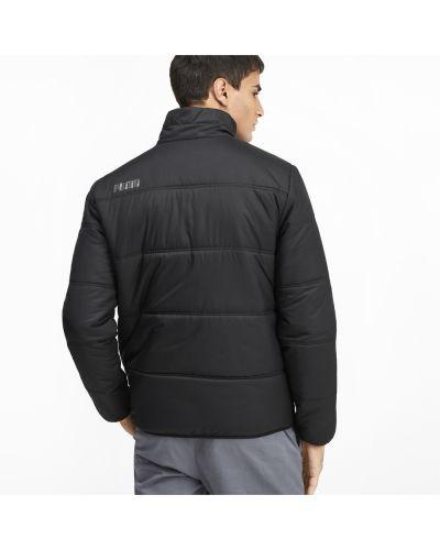 Черная длинная куртка с надписью на молнии Puma