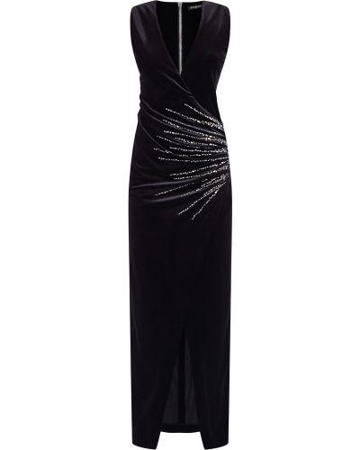 Вечернее платье с запахом с декольте Balmain