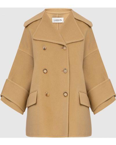 Бежевое кашемировое пальто Lanvin