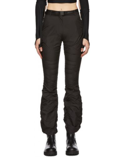 Брючные черные расклешенные брюки с поясом Hyein Seo