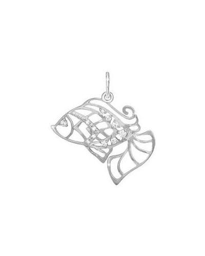 Серебряная подвеска с камнями с фианитом кюз дельта