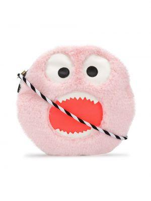 Розовая с ремешком сумка на плечо в полоску Wauw Capow