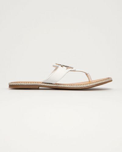 Białe sandały japonki skorzane na obcasie Tommy Hilfiger