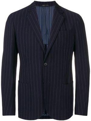 Шерстяной синий удлиненный пиджак с карманами Giorgio Armani