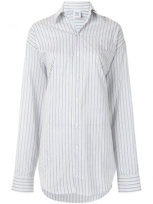 Шелковая синяя с рукавами классическая рубашка Vetements