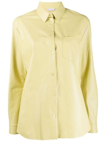 Żółta koszula z długimi rękawami skórzana Maison Ullens