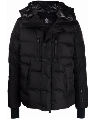 Czarna kurtka pikowana z kapturem Moncler Grenoble