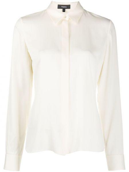 С рукавами шелковая классическая рубашка с воротником на пуговицах Theory