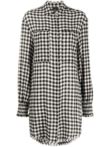 Шерстяное черное платье-рубашка в клетку Pinko