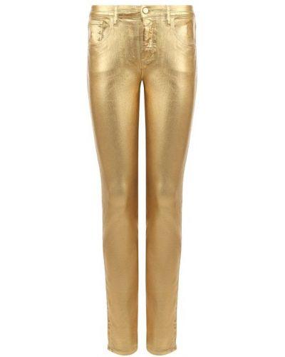 Прямые джинсы золотого цвета Roberto Cavalli