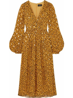 Желтое шелковое платье миди с подкладкой Saloni