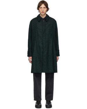 Черное шерстяное длинное пальто с воротником на молнии Schnaydermans