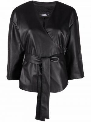 Кожаная рубашка - черная Karl Lagerfeld