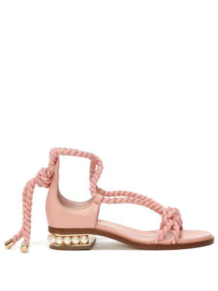 Różowe sandały skorzane Nicholas Kirkwood