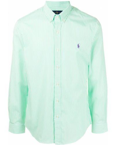 Хлопковая зеленая рубашка в полоску Polo Ralph Lauren