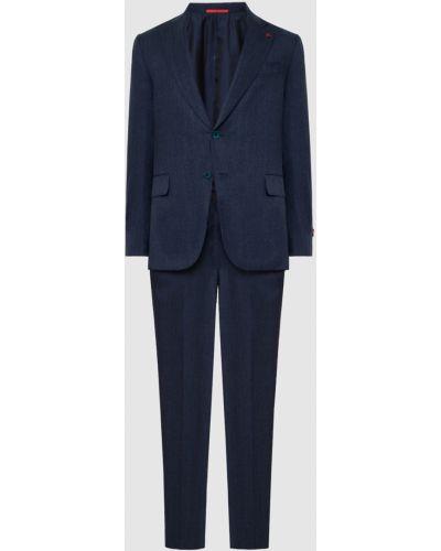 Костюмный шерстяной синий костюм Isaia