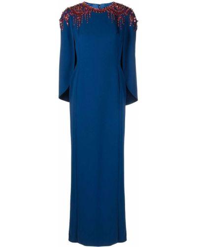 Niebieska sukienka długa z długimi rękawami Jenny Packham