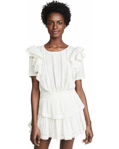 Белое платье мини с короткими рукавами с декольте Loveshackfancy