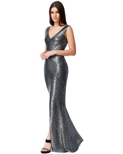Облегающее черное вечернее платье в полоску Goddiva