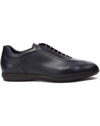 Синие кожаные кроссовки на шнуровке Franceschetti