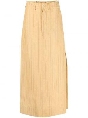 Желтая прямая юбка макси с карманами Jacquemus