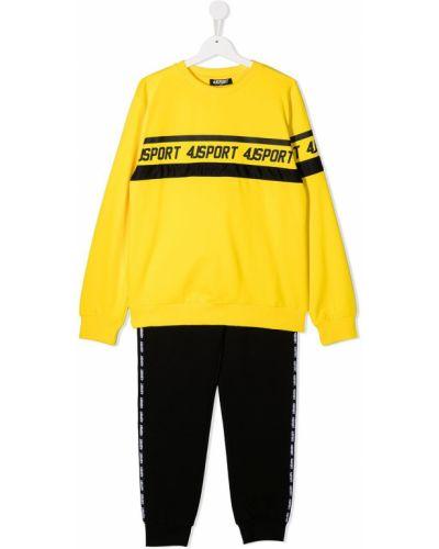 Żółty dres bawełniany z długimi rękawami Cesare Paciotti 4us Kids