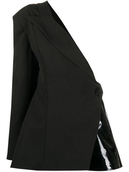 Черный кожаный пиджак на одно плечо Loulou