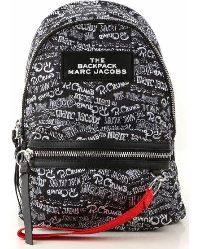 Nylon czarny plecak z kieszeniami z logo Marc Jacobs