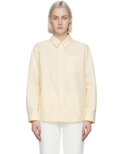 Хлопковая белая оксфордская рубашка с длинными рукавами A.p.c.