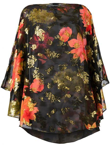 Czarna bluzka z jedwabiu w kwiaty Haney